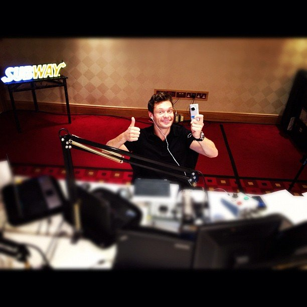 Ryan Seacrest shared a photo from his Subway studio in London. Source: Instagram user ryanseacrest