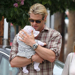 Chris Hemsworth Pictures Holding Baby India With Elsa Pataky