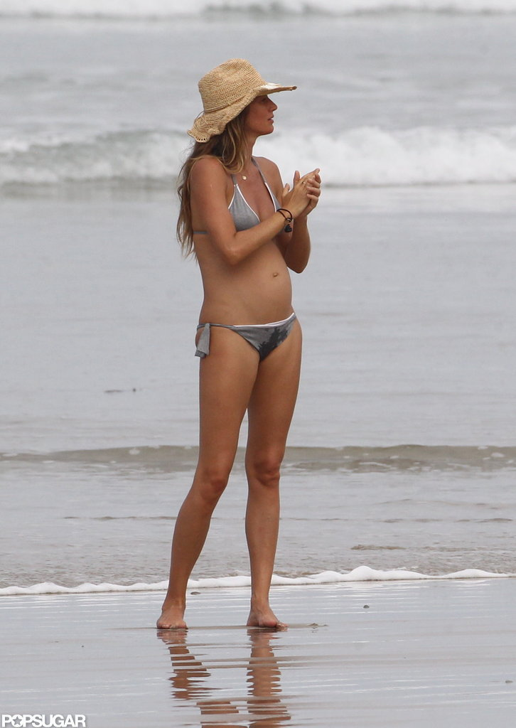 Pregnant Gisele Bundchen wore a bikini.