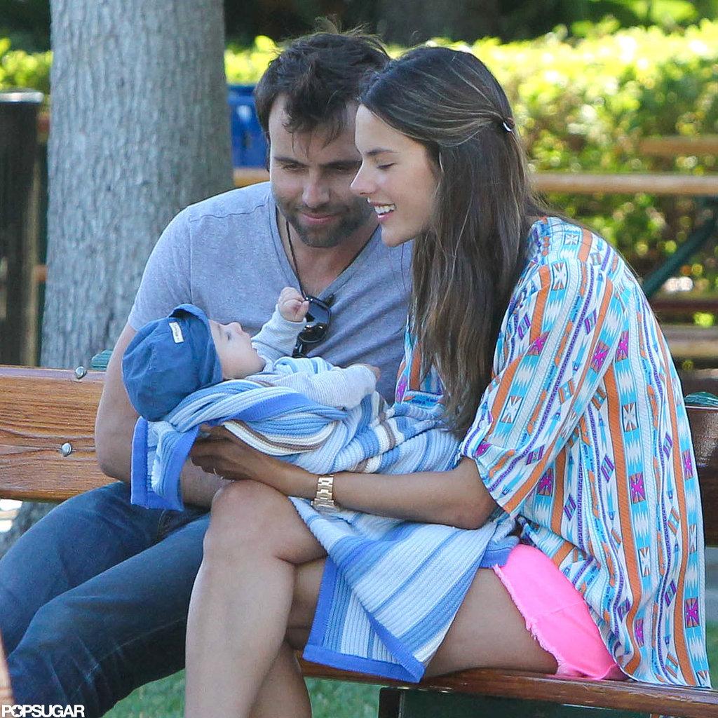 Jamie Mazur and Alessandra Ambrosio smiled with Noah.