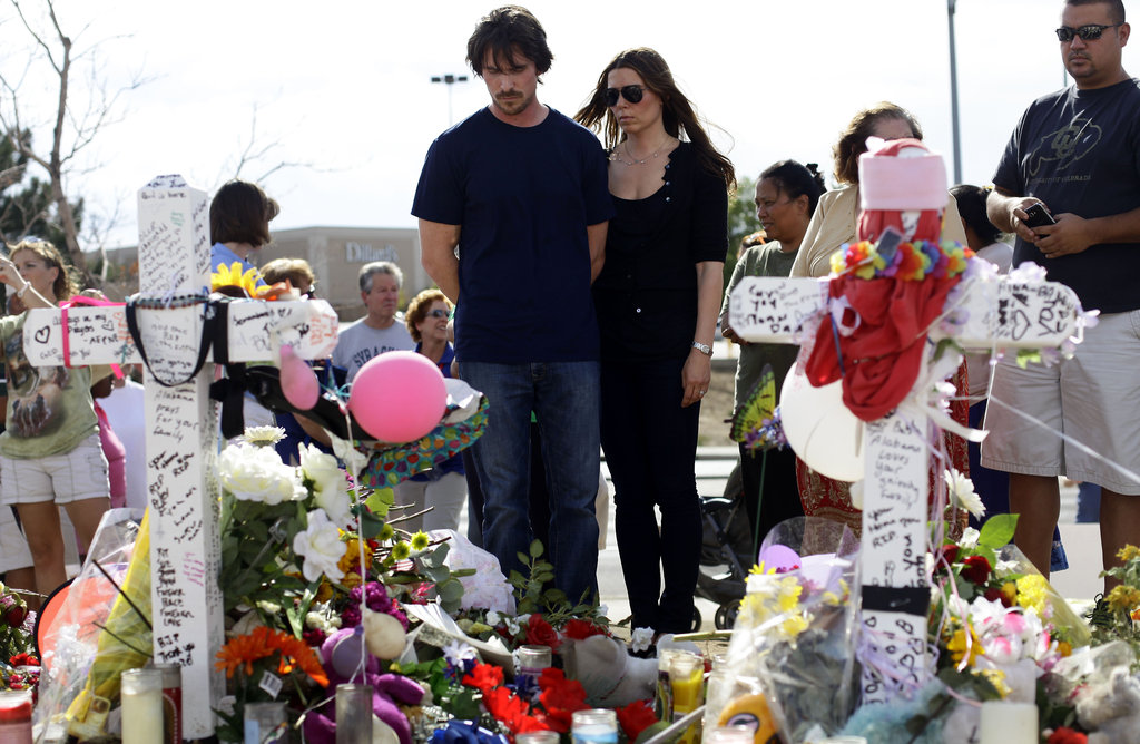 Christian Bale and Wife Visit Aurora Shooting Victims and Memorial