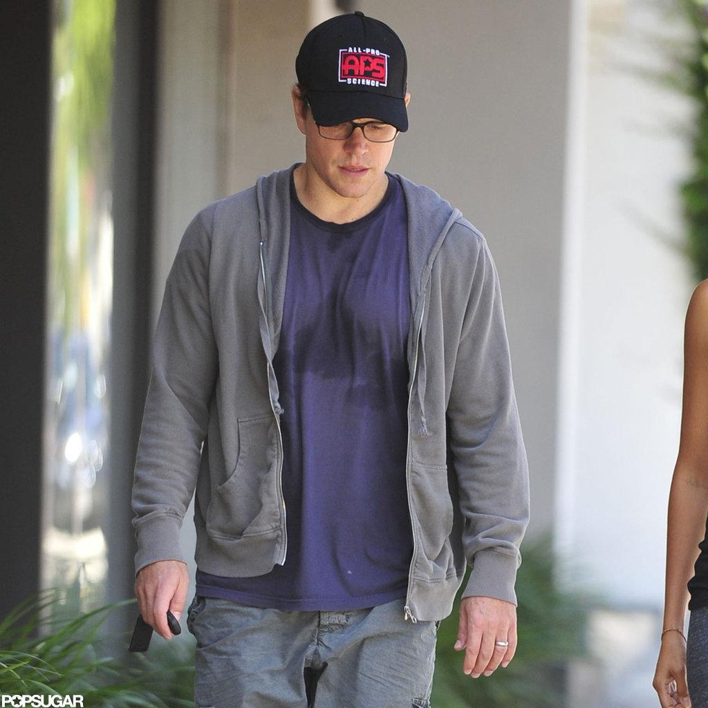 Matt Damon got sweaty after a workout.