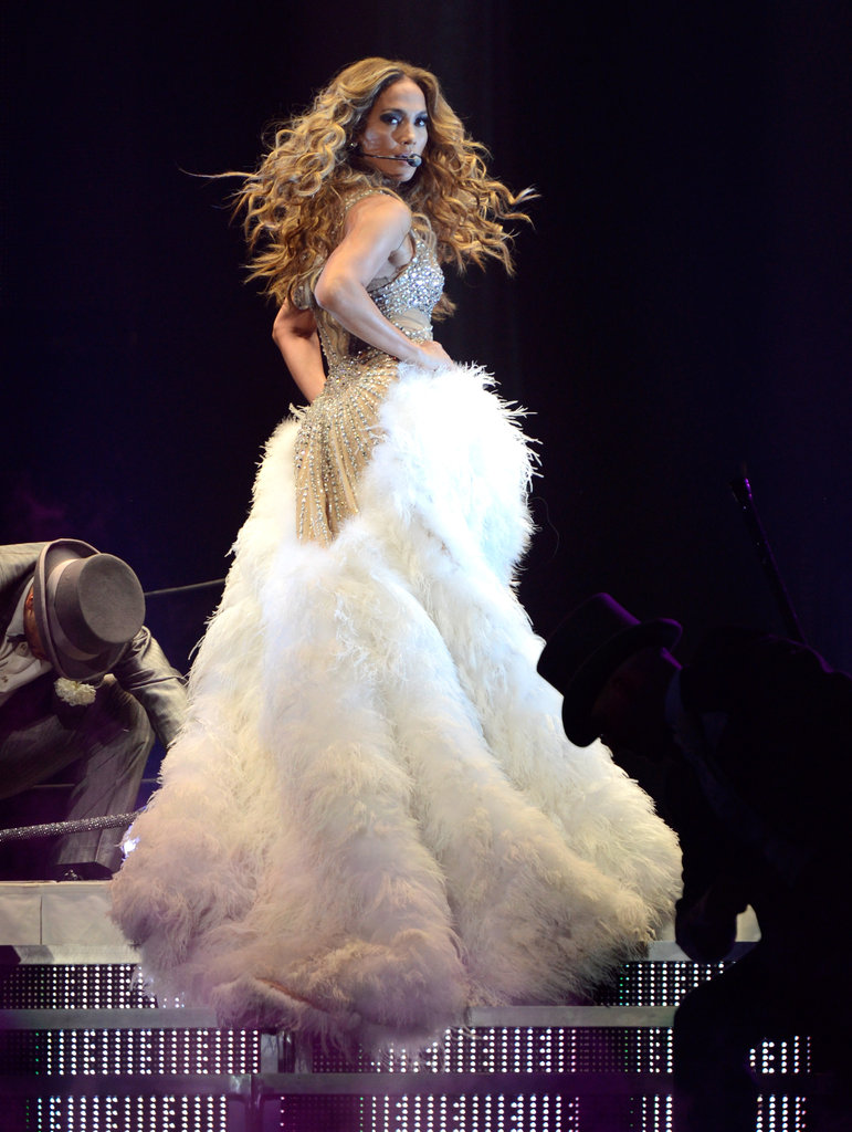 On stage for her latest world tour, Jennifer opted for an all-out glam confection with maximum statement power.