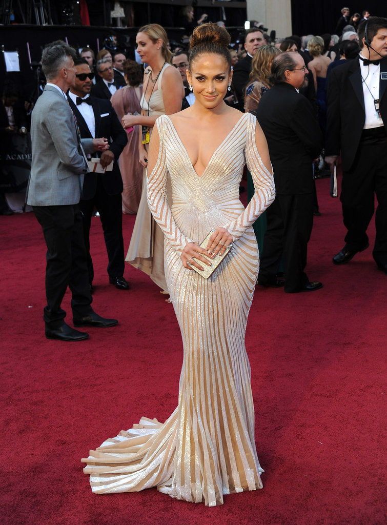 A seriously sexy sequined and sheer illusion Zuhair Murad gown for the 2012 Academy Awards.