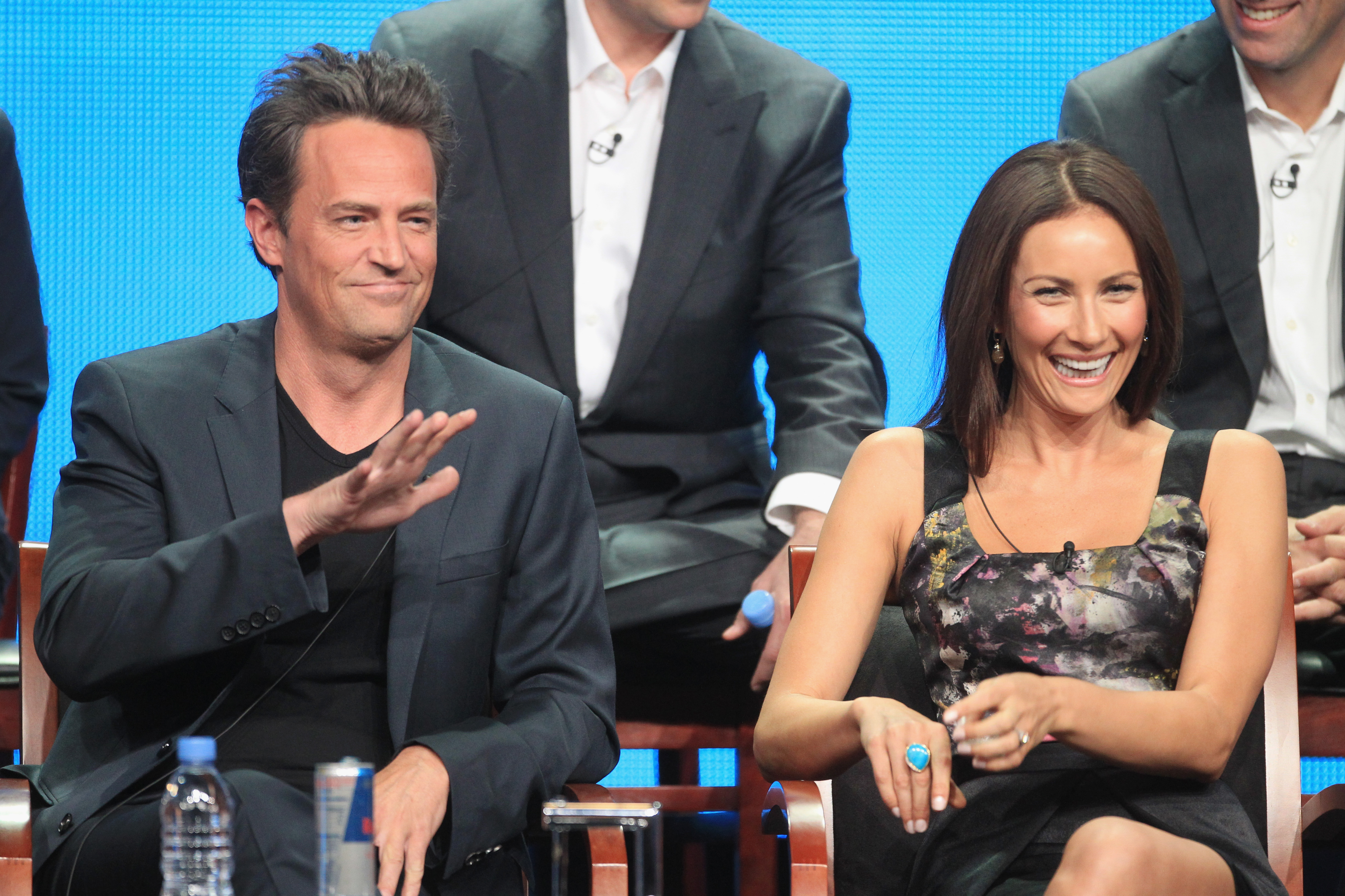 "Matthew Perry appeared alongside Laura Benanti, who plays the counselor of ""Transitions,"" the grief group Perry's character attends in Go On."