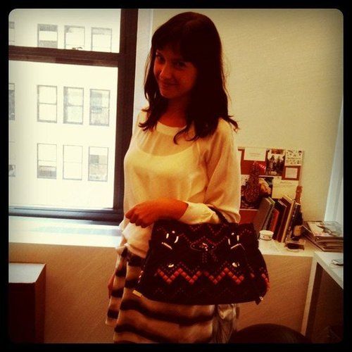 Fashionologie's Christina Pérez modeled a bit of Mulberry arm candy that showed up in the office.