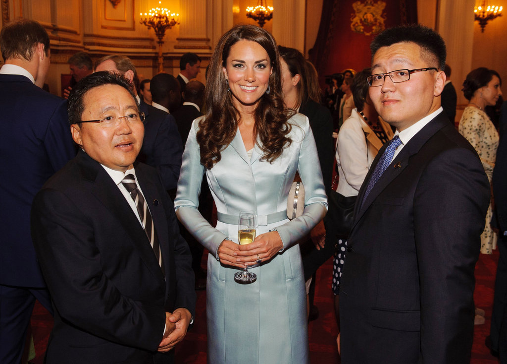 Kate posed with President of Mongolia Elbegdorj Tsakhia at Buckingham Palace ahead of the Olympics.