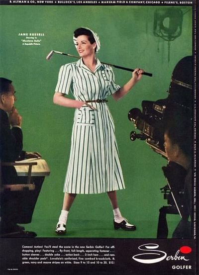 A stylish girl golfer of yesteryear.
