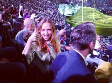 Stella McCartney was front and centre to watch the London Olympics opening ceremony.