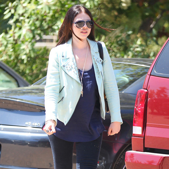 Michelle Trachtenberg Wearing Mint Studded Jacket