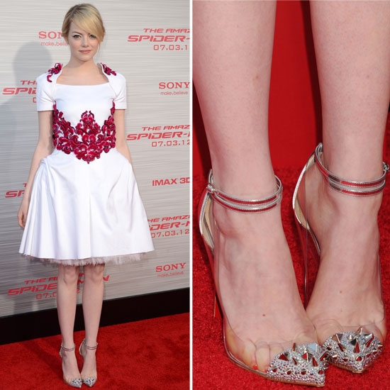 Emma Stone has already been spotted in Christian Louboutin's Bis Un Bout pumps, but this latest spiked iteration put a darker spin on this Chanel dress.