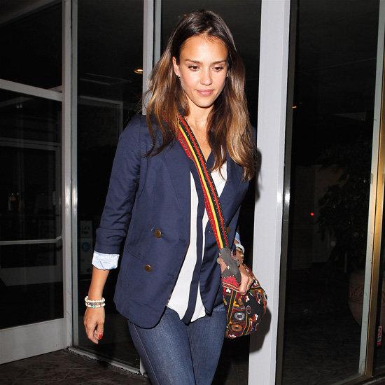 Jessica Alba Carrying Colorful Crossbody Bag