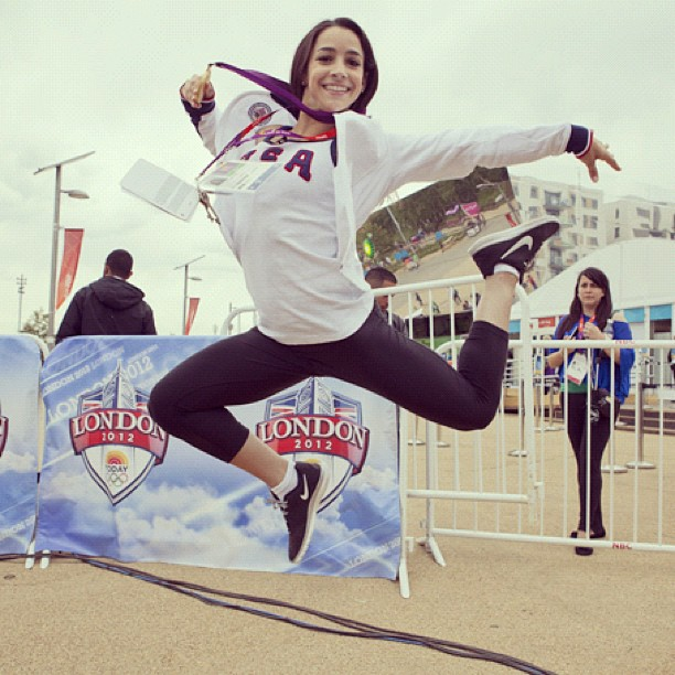 USA gymnast Aly Raisman jumped for joy after winning her gold medal. Source: Instagram user todayshow
