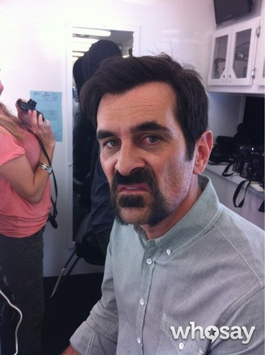 Ty Burrell sported a pretty sweet 'stache on the Modern Family set. Source: Julie Bowen on WhoSay