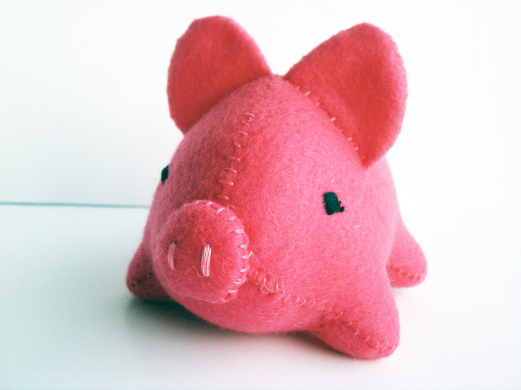 Hot Pink Stuffed Pig ($18)