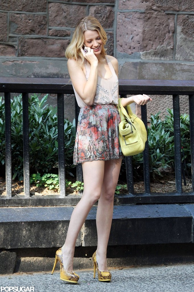 Blake Lively wore a miniskirt and heels while shooting Gossip Girl.