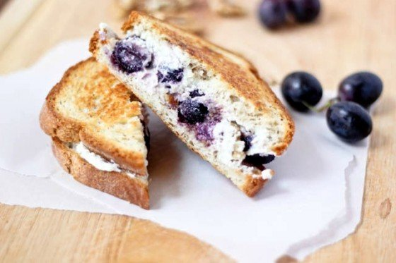 Grape Goat Cheese and Walnut Grilled Cheese