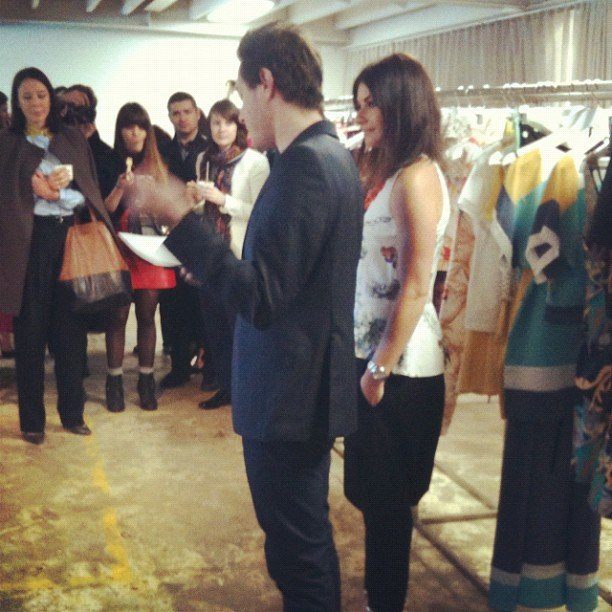 The adorable Marc and Camilla from Camilla & Marc talking through their new C&M line.
