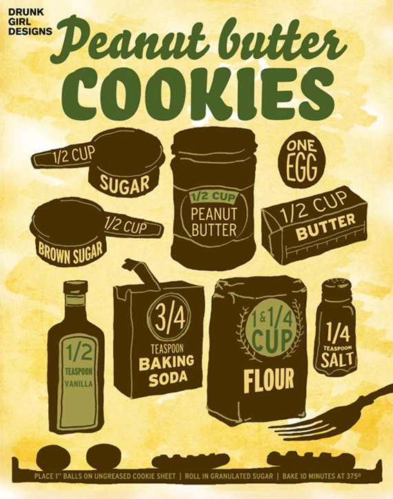 Illustrated Peanut Butter Cookies Recipe