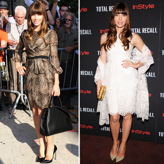 Jessica Biel's Two Total Recall Looks: Elie Saab for the NYC Premiere and Giambattista Valli for the Daily Show with Jon Stewart