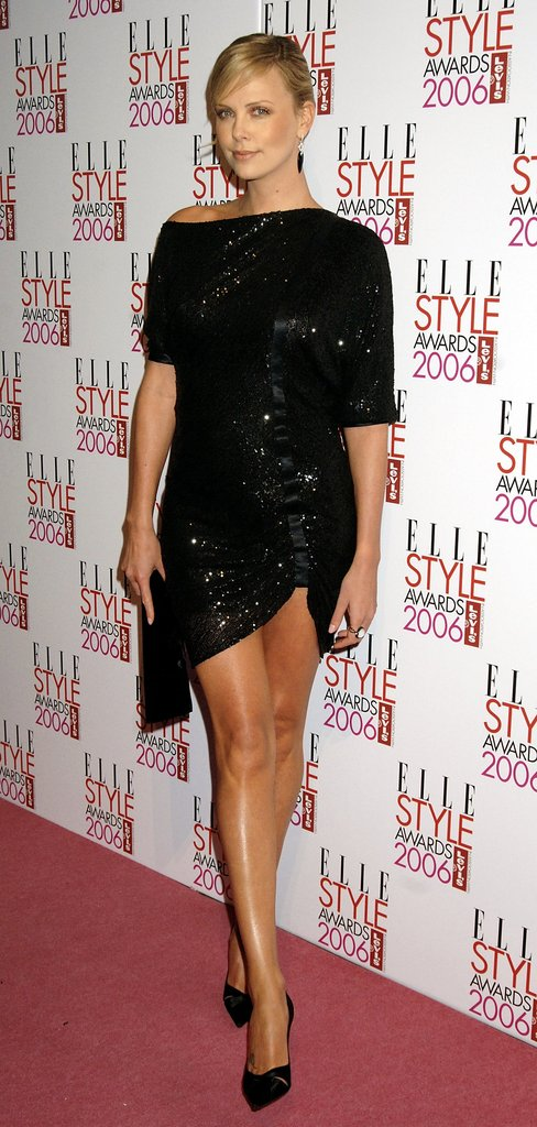Charlize Theron wore a sparkly minidress to the Elle Style Awards in February 2006.