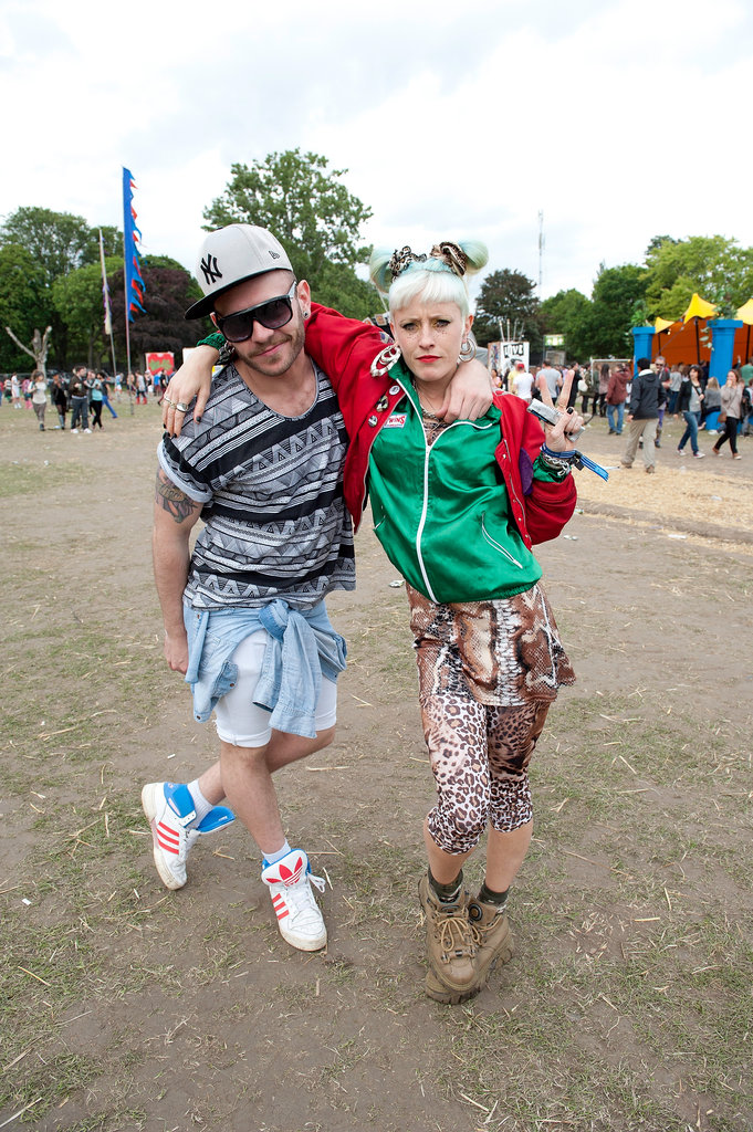 A couple attended the Lovebox Festival at Victoria Park in London.
