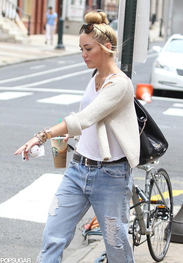 Miley Cyrus headed to her car in Philadelphia.