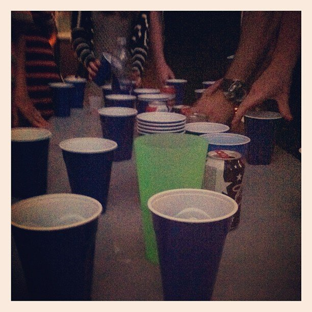 Lauren Conrad played Flip Cup with friends. Source: Instagram user laurenconrad