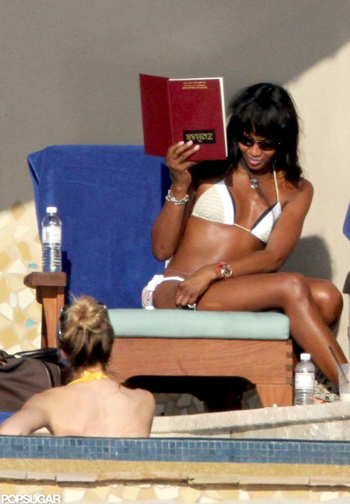 Naomi Campbell brought her bikini and the religious text The Zohar along on a December 2010 Mexican vacation.