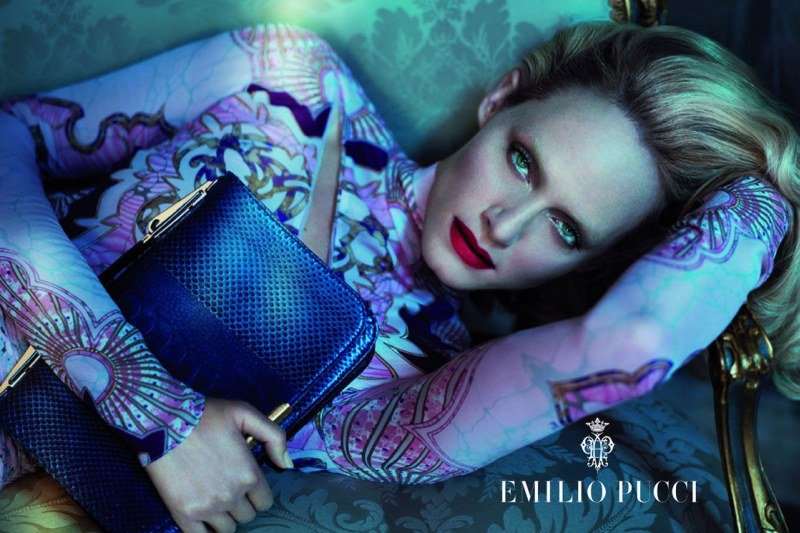 Amber Valletta looks dreamy in shades of blues and purples in Emilio Pucci.