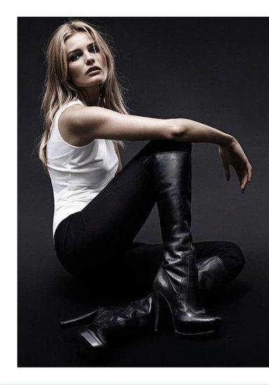 Model Edita Vilkeviciute smolders in tough-girl wares for Calvin Klein White Label Fall 2012.