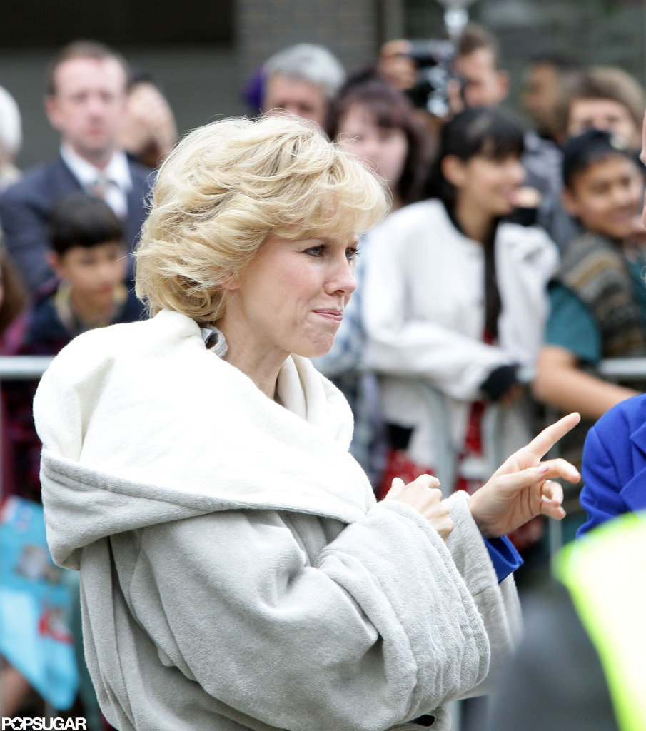 Naomi Watts wore a robe on set before filming as Princess Diana.