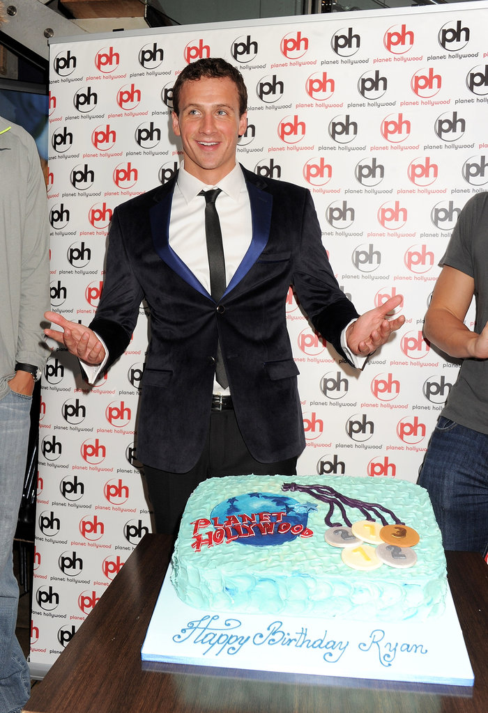 Ryan Lochte's birthday cake was decorated with Olympic medals.