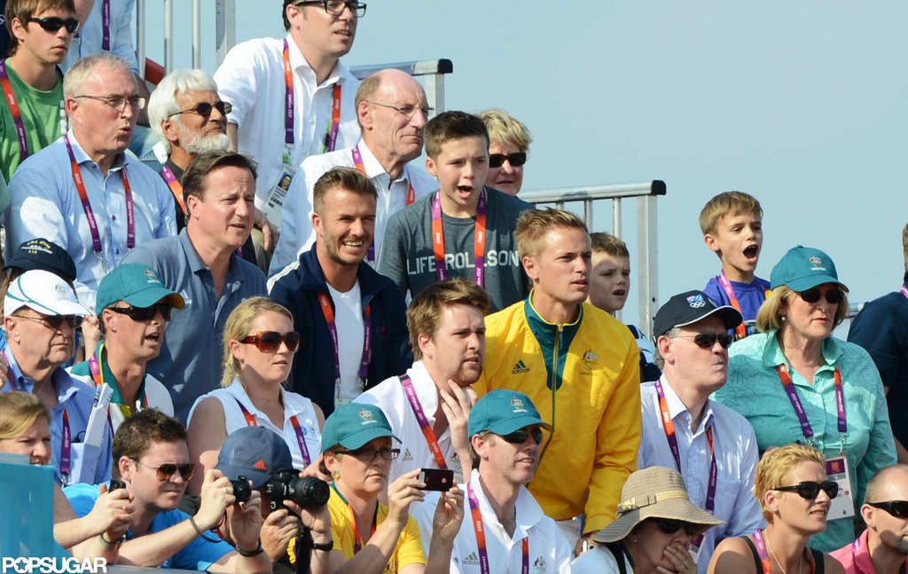 David Beckham and his sons Romeo Beckham, Cruz Beckham, and Brooklyn Beckham watched the BMX finals together.