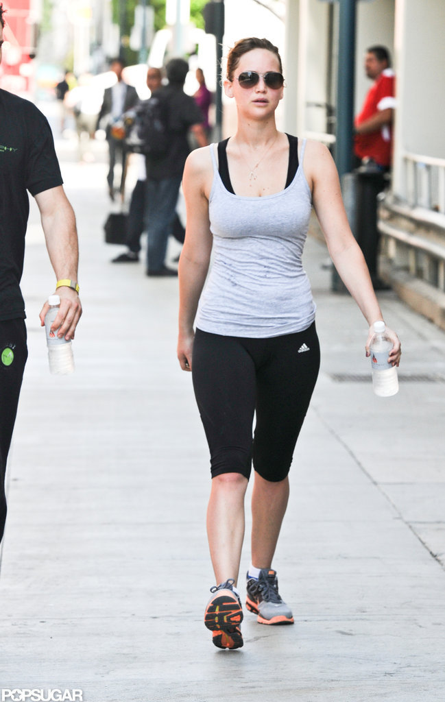 Jennifer Lawrence left a gym after working out.