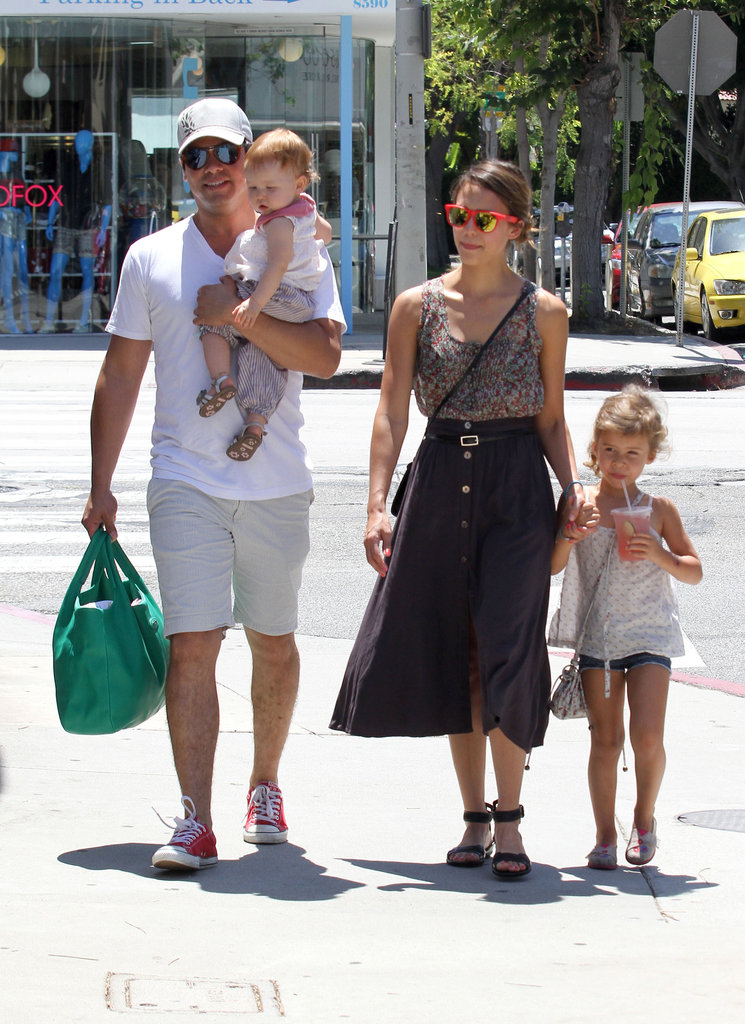 Jessica Alba and Cash Warren took daughters Honor and Haven to lunch in LA.