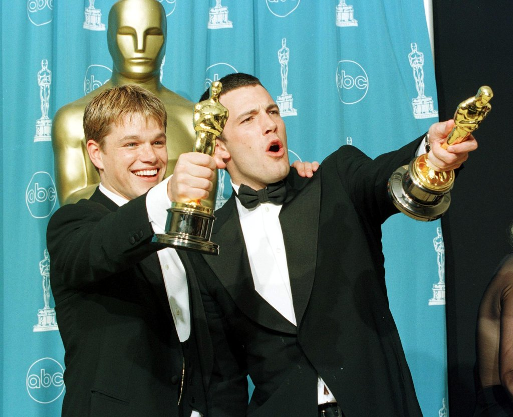 Matt Damon and Ben Affleck stepped into the press room at the March 1998 Academy Awards ceremony showing off their best original screenplay Oscars.