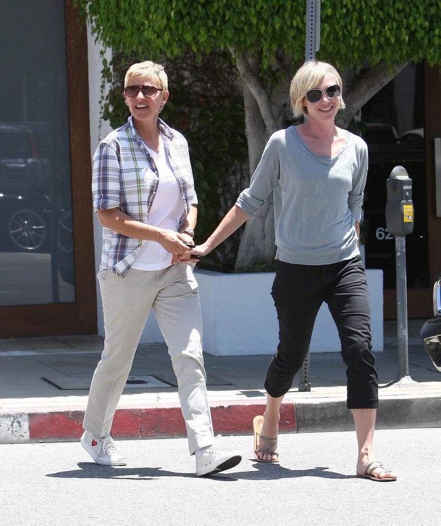 In June 2012, Portia led the way for a smiley Ellen in LA.