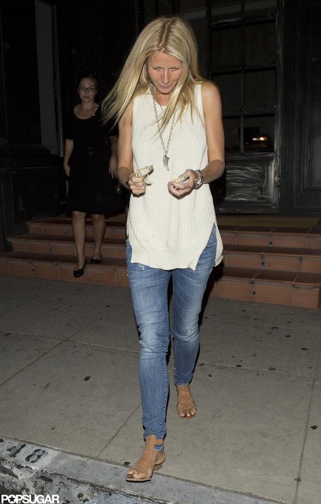 Gwyneth Paltrow wore a cream sweater.