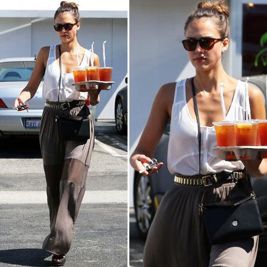 Jessica Alba in a Maxi Skirt in LA