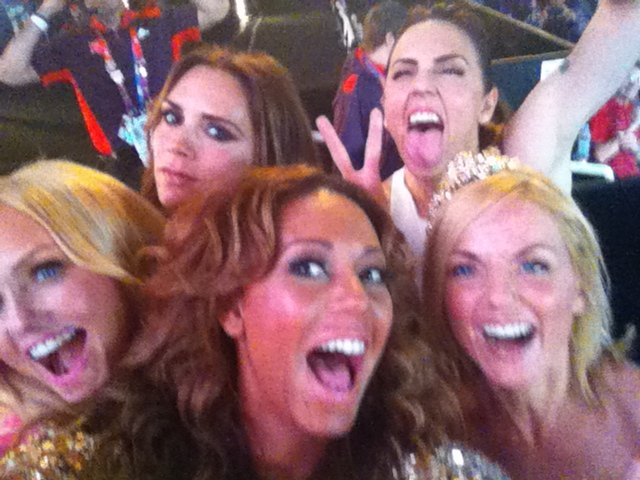 The Spice Girls had a ball backstage at the London Olympics closing ceremony. Source: Twitter user OfficialMelB
