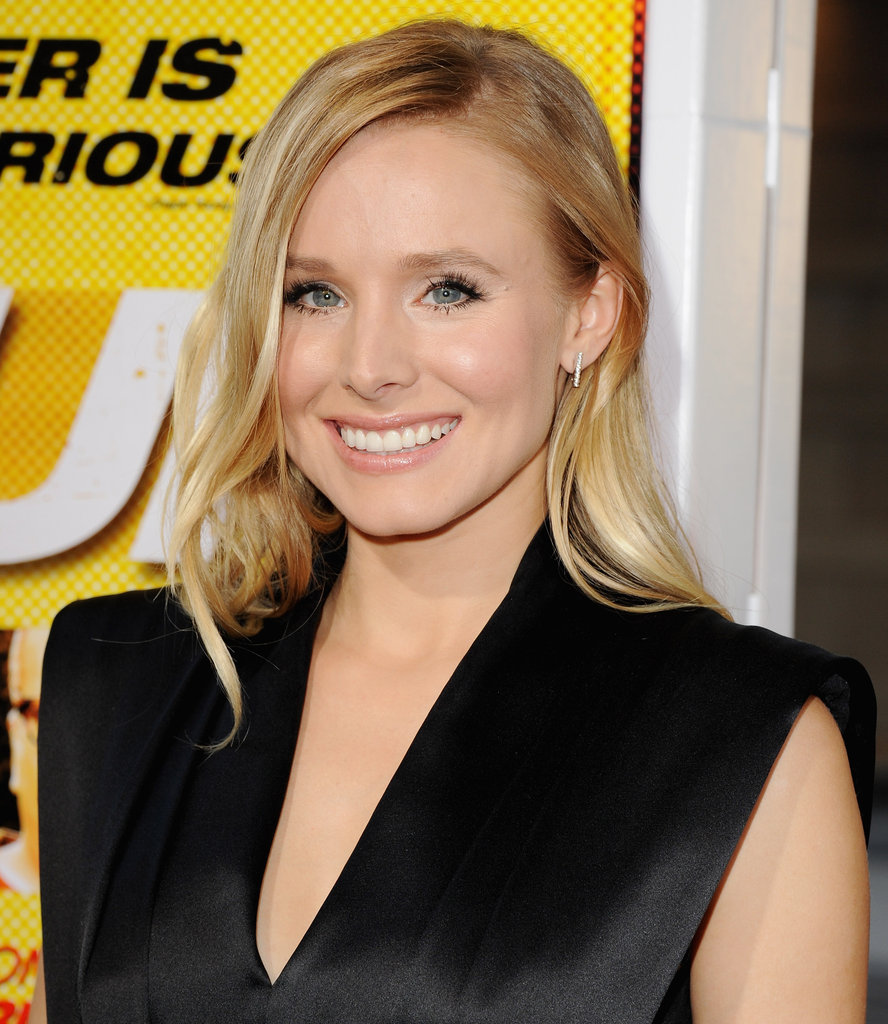 Kristen Bell wore a black satin jumpsuit.