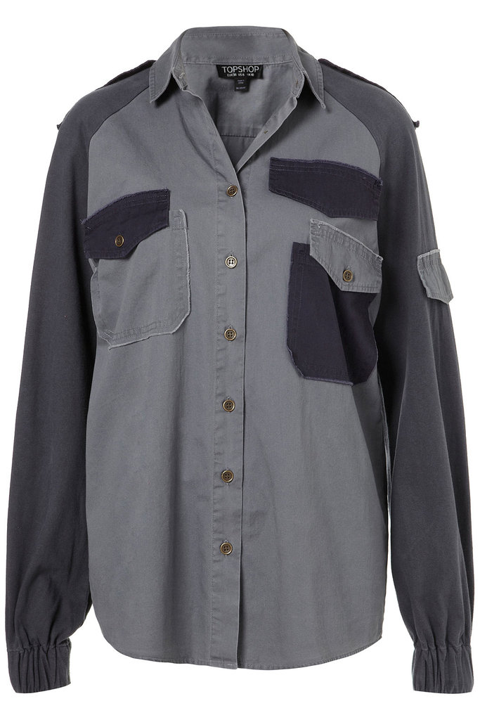 This two-toned work shirt is perfect for pairing with black pants — or, if you're feeling bold, you can go double-denim by wearing it with a pair of jeans. Topshop Mix and Match Military Shirt ($90)