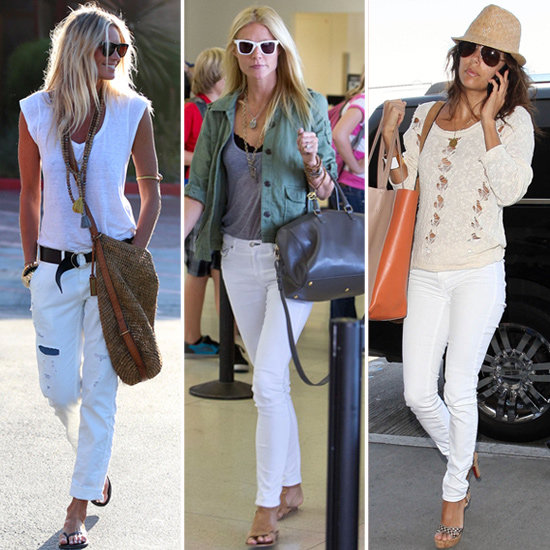 three summery white jean outfits courtesy of elle. Black Bedroom Furniture Sets. Home Design Ideas