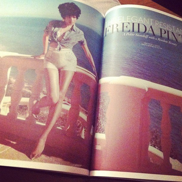 """Celebstyle noted, """"Woah, Freida Pinto looks so different yet still gorgeous in Flaunt Magazine!"""""""