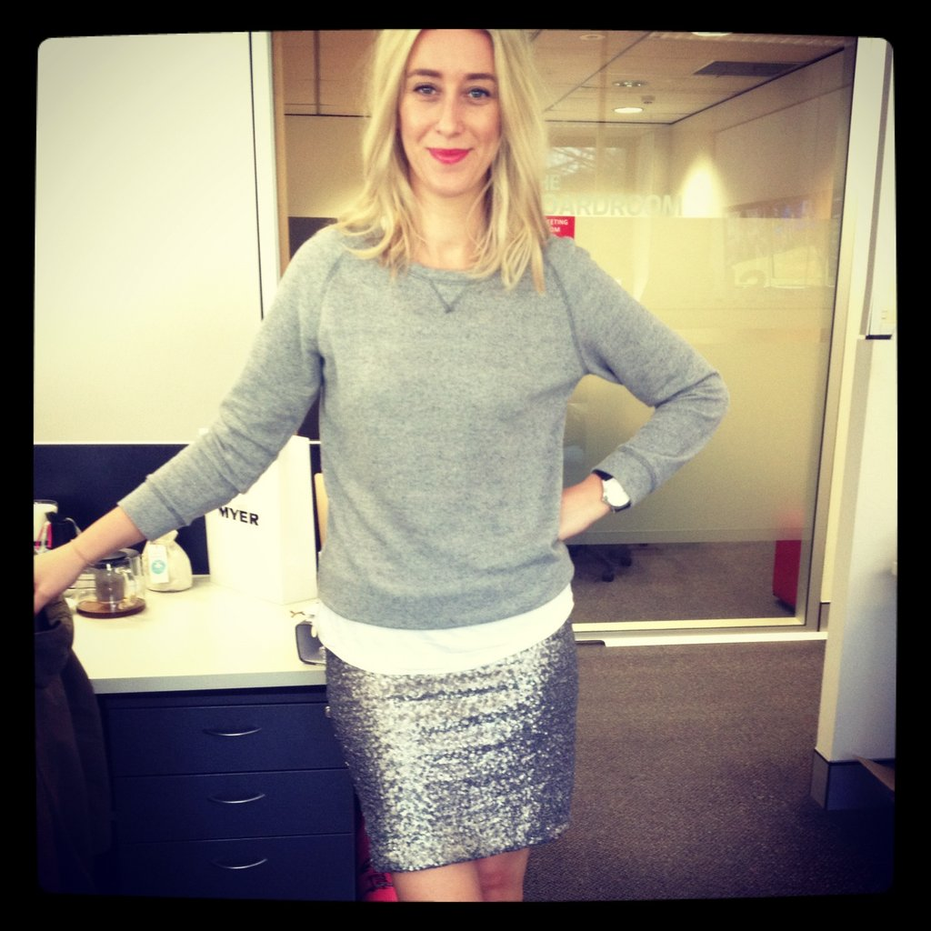 Alison brought a little sparkle to the Sugar equation with her sequinned Topshop skirt, white Saba shirt, grey marle K-Mart sweater and Marc Jacobs watch.