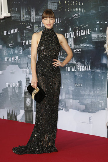 Jessica Biel has really stepped up her style game in the last few months, and our eyes couldn't be happier. She sparkled in this dark, sleek and sheer Elie Saab gown at the German premiere of her new movie Total Recall. Points for the oversized Fendi clutch, too.