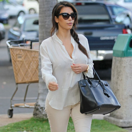 Kim Kardashian Wearing Nude and Gold Sandals
