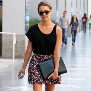 Jessica Alba Wearing Floral Skirt