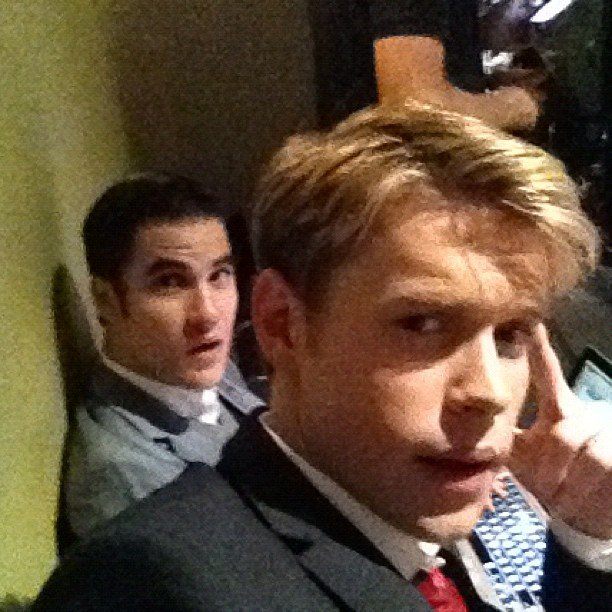 Chord Overstreet and Darren Criss snapped a photo between scenes on the set of Glee.  Source: Instagram user chordover